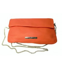 Кожаный клатч оранжевого цвета RINASCIMENTO 9742