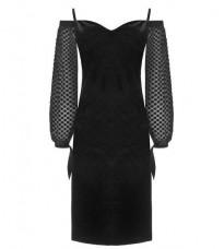 Черное платье с открытыми плечами RINASCIMENTO 15387
