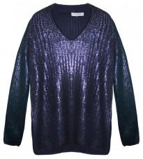 Синий свитер с золотистым напылением RINASCIMENTO 8663