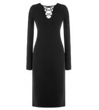 Черное платье с декором в виде шнуровки RINASCIMENTO 8209