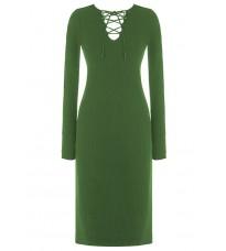 Зеленое платье с декором в виде шнуровки RINASCIMENTO 8209