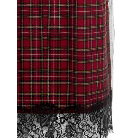 Красная юбка в клетку с кружевом RINASCIMENTO 83827
