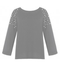 Серый свитер с бусинами на рукавах RINASCIMENTO 8445