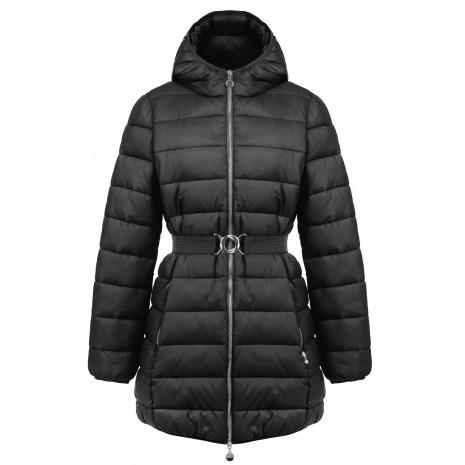 Черное стеганное пальто с поясом RINASCIMENTO 81306