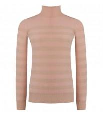 Розовый свитер в полоску с высоким воротом RINASCIMENTO 8219