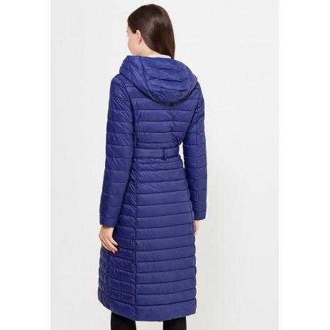 Синее стеганное пальто с поясом RINASCIMENTO 81448