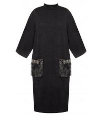 Черное прямое платье с декорированными карманами RINASCIMENTO 82755