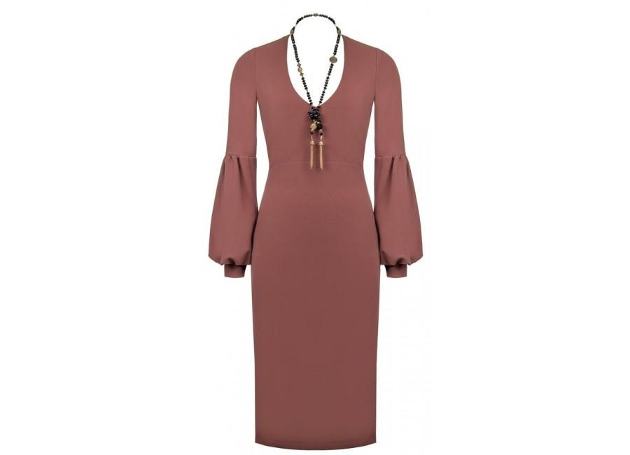 Розовое платье с епископскими рукавами RINASCIMENTO 15134