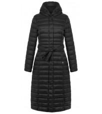 Черное стеганное пальто с поясом RINASCIMENTO 81448