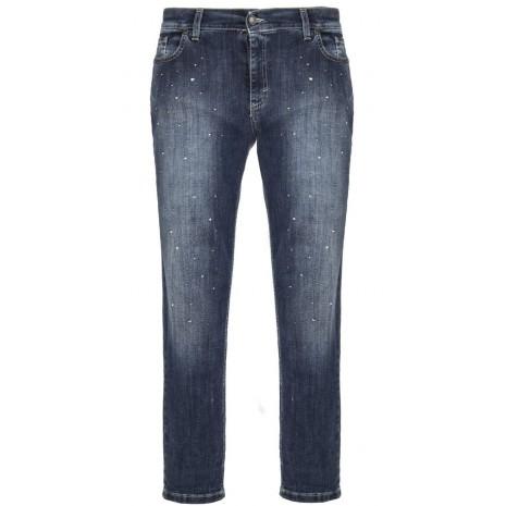 Укороченные джинсы со стразами RINASCIMENTO 81845