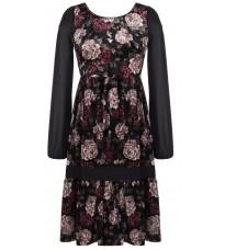 Черное платье с цветочным принтом RINASCIMENTO 82032