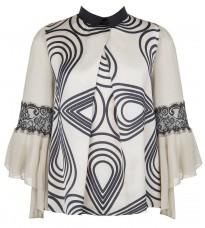 Бежевая блуза с контрастным абстрактным принтом RINASCIMENTO 82132