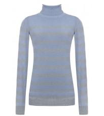 Голубой свитер в полоску с высоким воротом RINASCIMENTO 8219