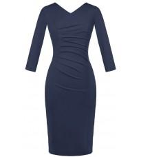 Синее обтягивающее платье с V-образным вырезом RINASCIMENTO 82211