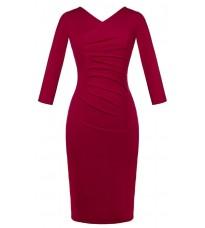 Красное обтягивающее платье с V-образным вырезом RINASCIMENTO 82211