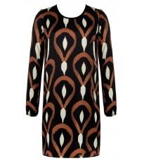 Черное платье с абстрактным принтом RINASCIMENTO 83177