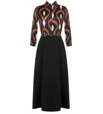 Длинное черное платье с абстрактным принтом RINASCIMENTO 83208