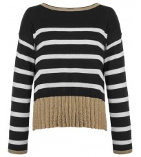 Черный свитер с белой полоской RINASCIMENTO 8323