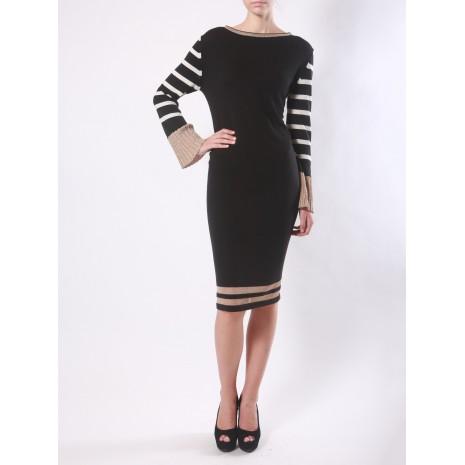 Длинное черное платье с полосками RINASCIMENTO 8325