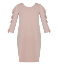 Розовое платье с оборками на рукавах RINASCIMENTO 79712