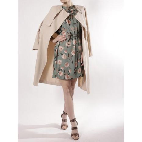 Бежевое пальто с поясом RINASCIMENTO 80086