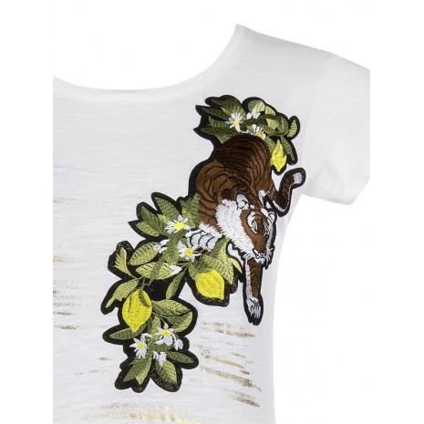 Белая футболка с вышивкой RINASCIMENTO 80209