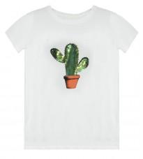 Белая футболка с пайетками RINASCIMENTO 79798