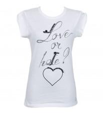 Белая футболка с принтом из страз RINASCIMENTO 78474