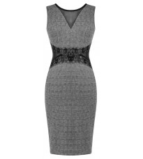 Серое платье с кружевной вставкой RINASCIMENTO 83199