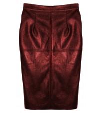 Бордовая кожаная юбка RINASCIMENTO 82149