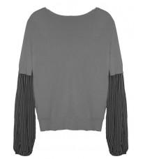 Серый свитер с рукавами в полоску RINASCIMENTO 8337