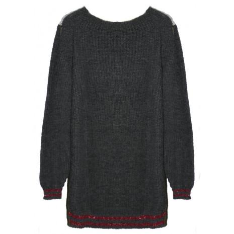 Серый свитер с контрастными вставками RINASCIMENTO 8305