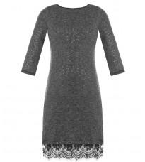 Серое платье с пайетками и кружевом RINASCIMENTO 84049