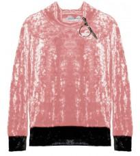 Розовый велюровый свитер с молнией на воротнике RINASCIMENTO 82672