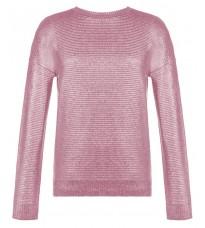 Розовый блестящий джемпер с бантом сзади RINASCIMENTO 8273