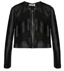 Черный кожаный пиджак с сетчатыми вставками RINASCIMENTO 82943