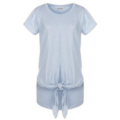Голубая серебристая футболка с декором RINASCIMENTO 79971