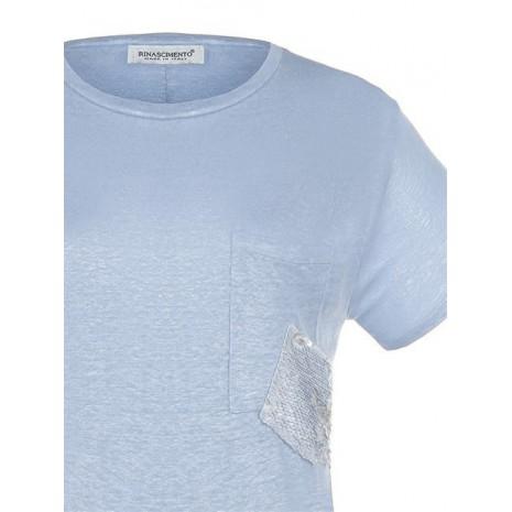 Голубая удлиненная сзади футболка RINASCIMENTO 80145