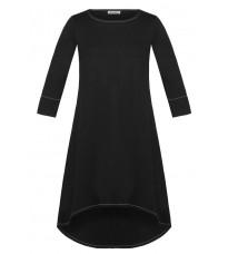 Черное удлиненное сзади платье RINASCIMENTO 15193