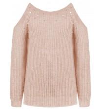 Розовый джемпер с вырезами на плечах RINASCIMENTO 8193