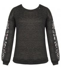 Черный свитер с кружевными вставками на рукавах RINASCIMENTO 82006