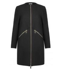 Черное пальто с карманами на молнии RINASCIMENTO 82486