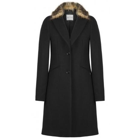 Черное пальто с мехом RINASCIMENTO 82487