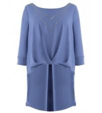 Голубая удлиненная блуза  RINASCIMENTO 14721