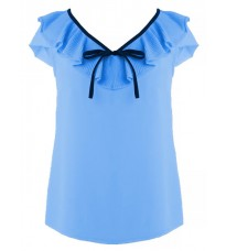 Голубая блуза с декором на воротнике RINASCIMENTO 78975