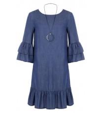 Синее платье с рюшами RINASCIMENTO 78553