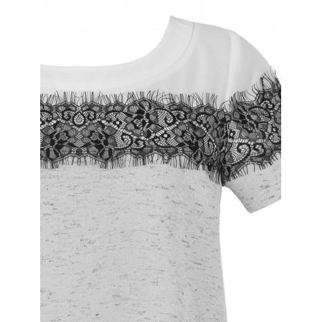 Серая футболка с кружевом RINASCIMENTO 85111