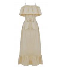 Длинное бежевое платье с открытыми плечами RINASCIMENTO 15787