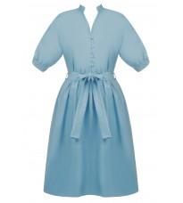 Голубое платье на пуговицах с поясом RINASCIMENTO 86695