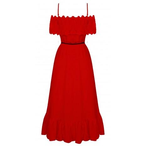 Красное платье с кружевом RINASCIMENTO 86751